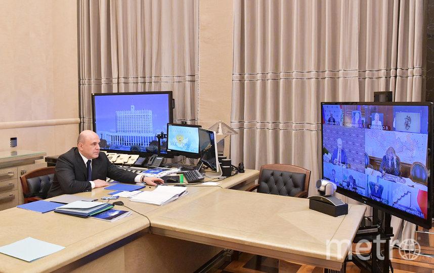 Премьер Мишустин на совещании по коронавирусу. Фото AFP