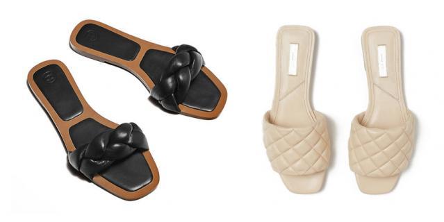 Шлёпки из кожи Massimo Dutti / Шлёпки из кожи H&M.