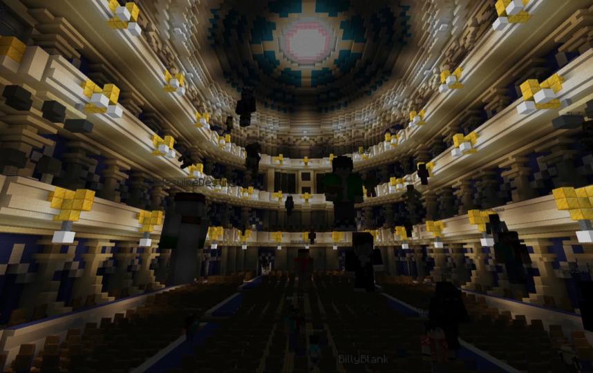 Вот так выглядит зал БДТ во вселенной Minecraft. Фото скриншот YouTube, Скриншот Youtube