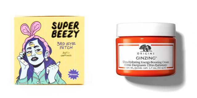 Гидрогелевые патчи против отеков и тёмных кругов Super Beezy Anti-Puffiness 3RD Eye Patch (1190 руб.) / Придающий сияние насыщенный крем с кофеином Origins GinZing (1800 руб.).