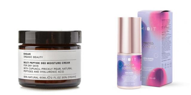 Антивозрастной крем Multi Peptide 360 Moisture Cream от Evolve Organic Beauty (3550 руб.) / Укрепляющий крем против морщин для кожи вокруг глаз 30+ PROTOCOSMETIC Ultra-Active Eye Cream от MIXIT (745 руб.).
