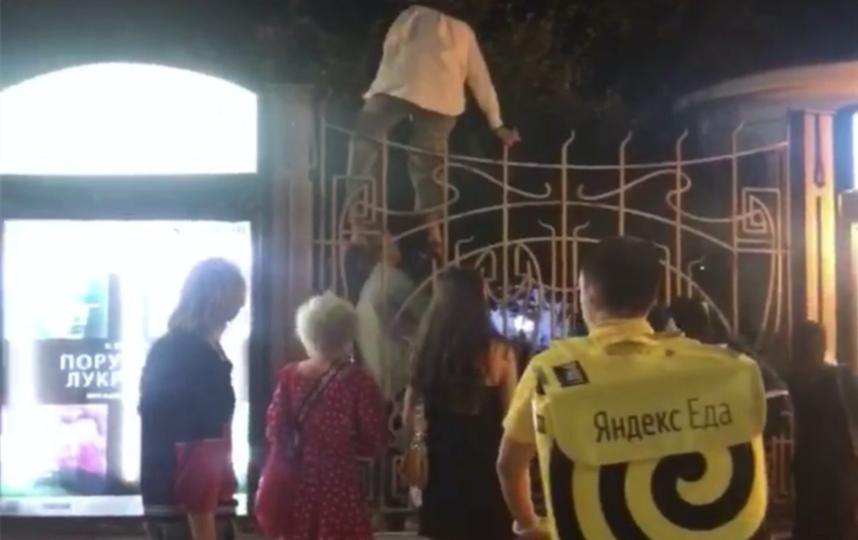 """Люди готовы были лезть через забор, чтобы попасть в """"Эрмитаж"""". Фото telegram-канал """"Московские новости"""""""