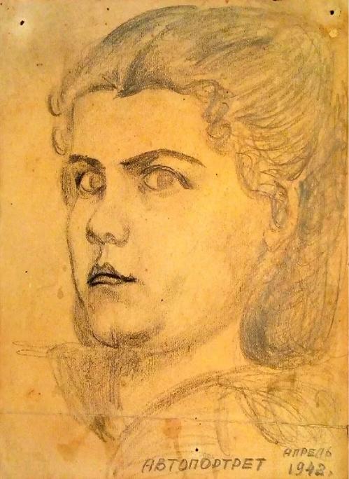 Е.В. Головкина (Можуховская). Автопортрет. Апрель 1942 года. Фото mos.ru