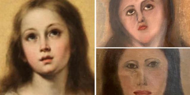 """Лицо Девы Марии до """"реставрации"""" и после."""