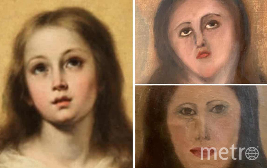 "Лицо Девы Марии до ""реставрации"" и после. Фото twitter.com/reviewwales"