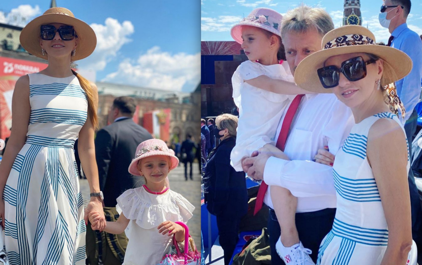 Татьяна Навка и Дмитрий Песков с дочерью на Красной площади 24 июня 2020 года. Фото Instagram @tatiana_navka