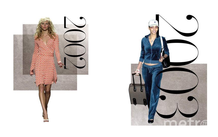 Платье с запахом от Diane von Furstenberg и велюровый костюм Juicy Couture. Фото Net-A-Porter