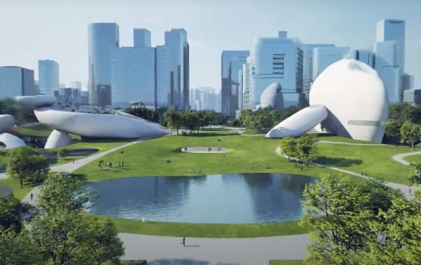 "Пруд тоже станет частью культурного пространства. Фото youtube@ MAD architects, ""Metro"""