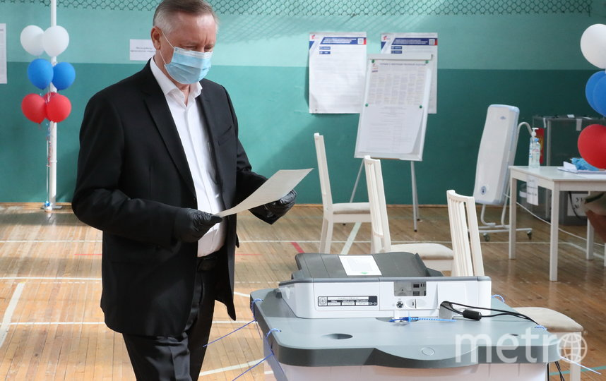 "Александр Беглов проголосовал  1 июля. Фото https://www.gov.spb.ru/press/governor/, ""Metro"""