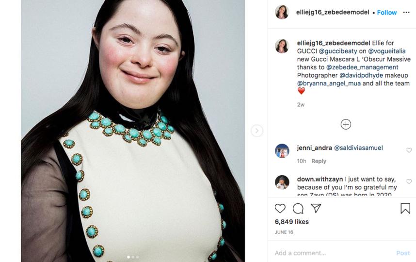 Новостью о партнёрстве с Gucci Элли Голдстейн поделилась с подписчиками в своём Instagram-аккаунте. Фото скриншот @elliejg16_zebedeemodel