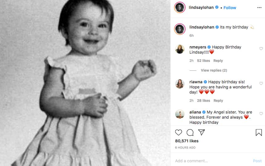 В честь праздника Линдси Лохан поделилась детской фотографией. Фото скриншот Instagram @lindsaylohan