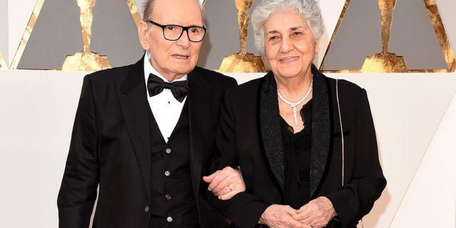 Эннио Морриконе с женой Марией. 2016 год.