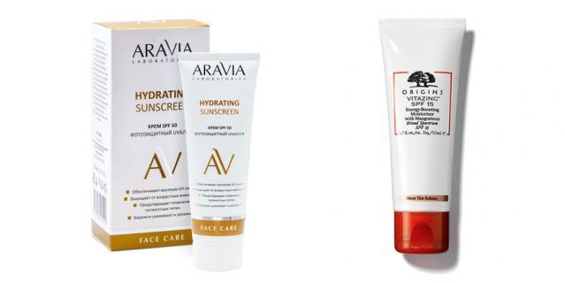 Крем дневной фотозащитный SPF 50 Hydrating Sunscreen от ARAVIA Laboratories (480 руб.) / Увлажняющиий крем, придающий энергию Origins Vitazing SPF15 (2390 руб.).
