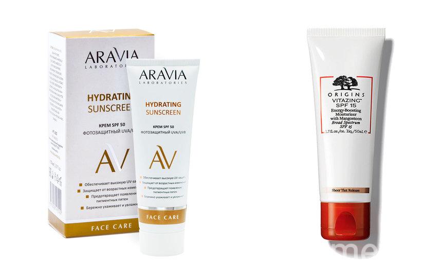 """Крем дневной фотозащитный SPF 50 Hydrating Sunscreen от ARAVIA Laboratories (480 руб.) / Увлажняющиий крем, придающий энергию Origins Vitazing SPF15 (2390 руб.). Фото Предоставлено интернет-магазином, """"Metro"""""""