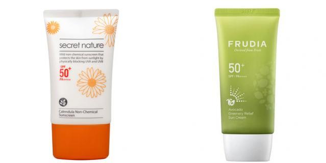 Солнцезащитный крем Secret Nature Calendula Non-Chemical Sunscreen SPF50+ (1690 руб.) / Солнцезащитный восстанавливающий крем с авокадо FRUDIA SPF50+PA++++ (884 руб.).