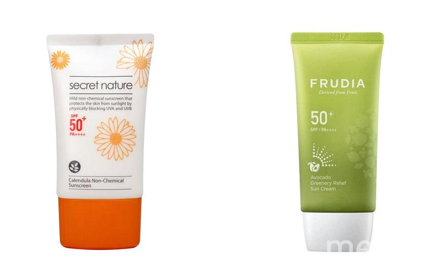 """Солнцезащитный крем Secret Nature Calendula Non-Chemical Sunscreen SPF50+ (1690 руб.) / Солнцезащитный восстанавливающий крем с авокадо FRUDIA SPF50+PA++++ (884 руб.). Фото Предоставлено интернет-магазином, """"Metro"""""""