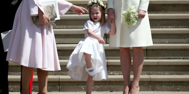 Принцесса Шарлотта на свадьбе Меган Маркл и принца Гарри.