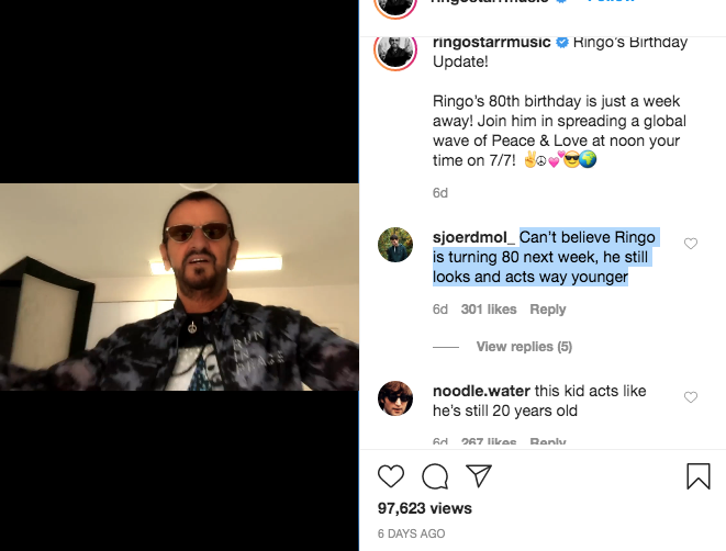"""В Instagram Ринго не верят, что ему 80 лет. Фото """"Metro"""""""