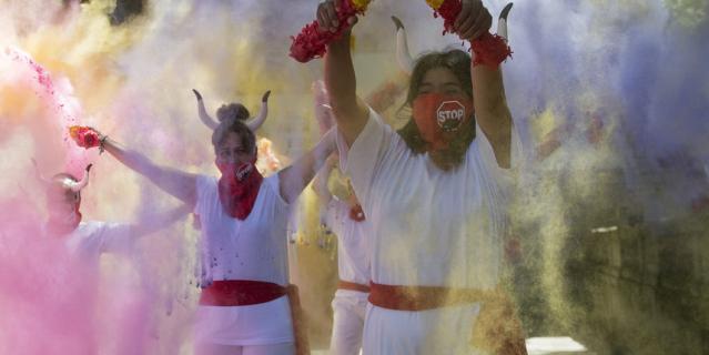 Зоозащитники отпраздновали отмену фиесты Сан-Фермин.