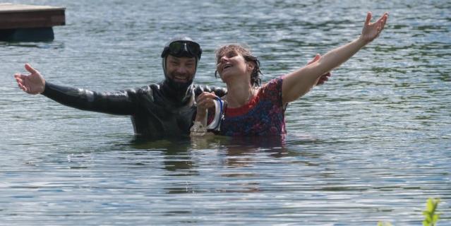 Игорь Усачёв и Елена Варшавская после съёмки романтической прогулки.