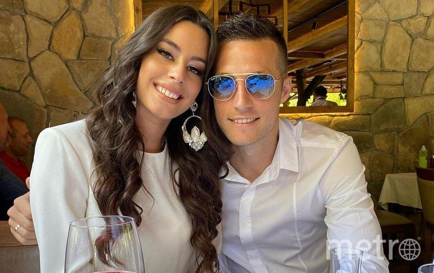 """Защитник """"Краснодара"""" Урош Спаич и его супруга Мария. Фото instagram @uros_spajic"""