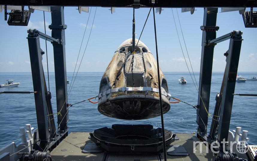 Crew Dragon с двумя астронавтами на борту приводнился в Мексиканском заливе. Фото Getty
