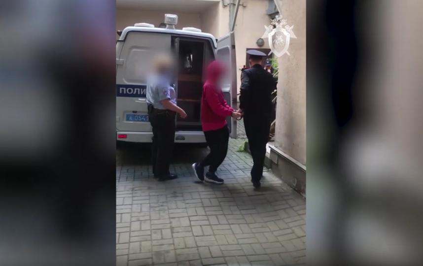 На кадрах женщину в наручниках привозят в квартиру, где были найдены останки убитого. Фото Скриншот Youtube