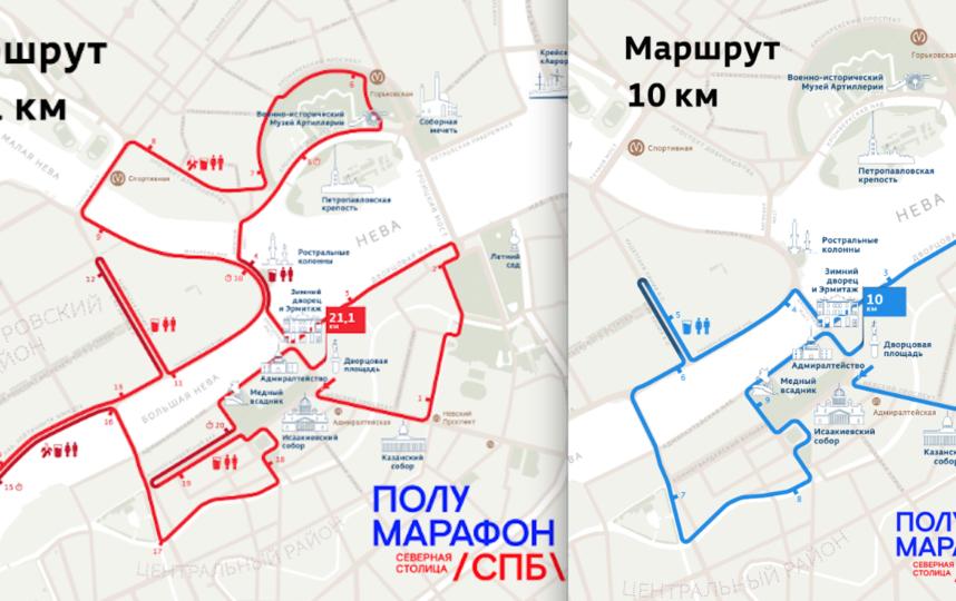 "Маршрут полумарафона ""Северная столица"" в 2020 году. Фото https://spbhalf.runc.run/, ""Metro"""