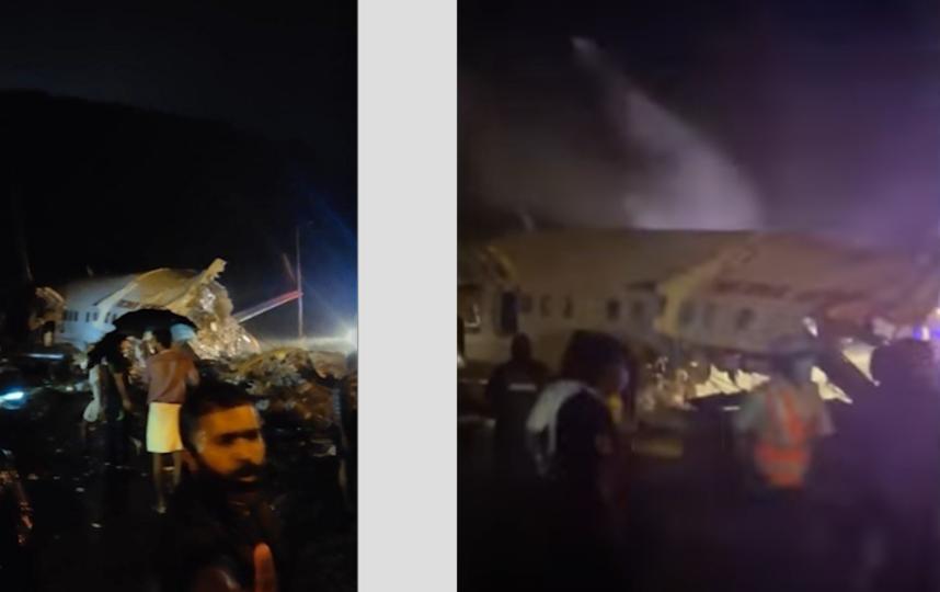 В Сети появилось видео выкатившегося за пределы полосы самолета в Индии. Фото Скриншот Youtube