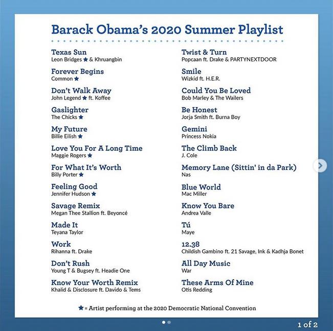 Плейлист этого лета: выбор Барака Обамы. Фото скриншот Instagram @barackobama