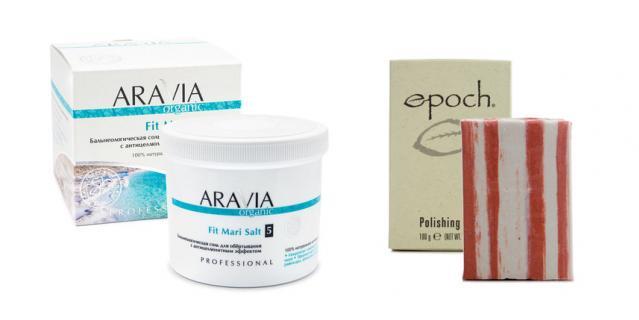 Бальнеологическая соль для обёртывания с антицеллюлитным эффектом Fit Mari Salt от ARAVIA Organic / Отшелушивающее крем-мыло Epoch Polishing Bar.