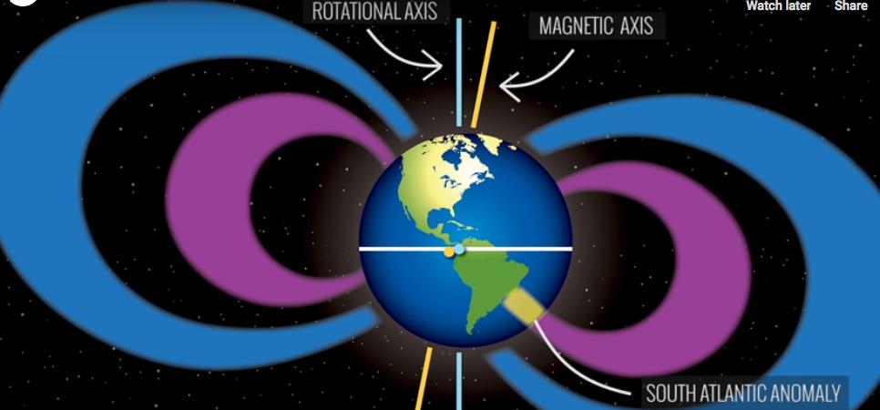 Последние данные показывают, что область аномалии разделилась на две части. Фото NASA Goddard, Скриншот Youtube