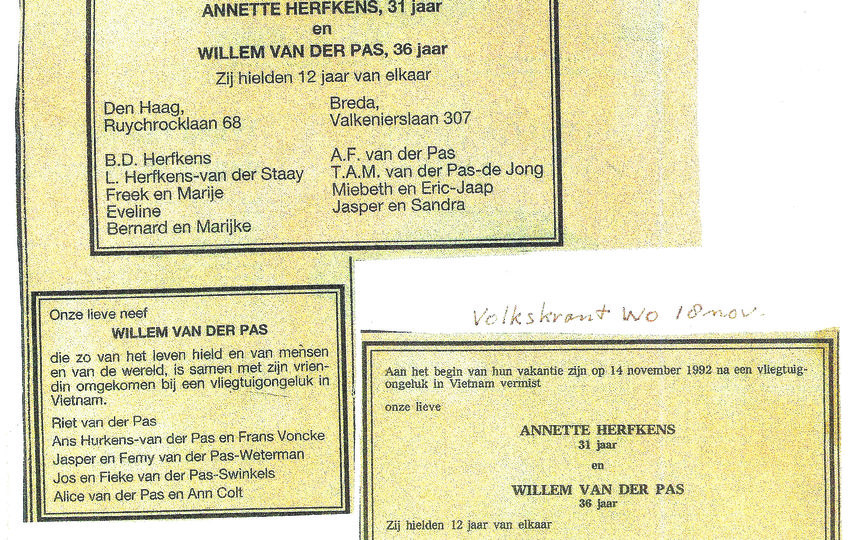 """Заметка в нидерландской газете, в ней сообщается о пропаже без вести 31-летней Аннетт и 36-летнего Виллема в «самом начале их отпуска». «Они любили друг друга 12 лет», – отмечается в тексте. Фото предоставила Annette Herfkens, """"Metro"""""""