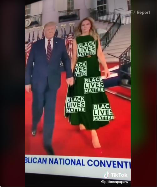 Варианты платьев Мелании Трамп. Фото https://www.tiktok.com/@pitbosspapaw/video/6866145592716856581?_d=secCgsIARCbDRgBIAIoARI%2BCjxaMLWf4