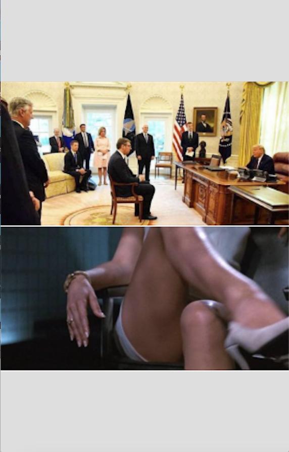 Те самые фото: на первом – Вучич и Трамп, на втором – кадр из «Основного инстинкта». Фото скриншот facebook