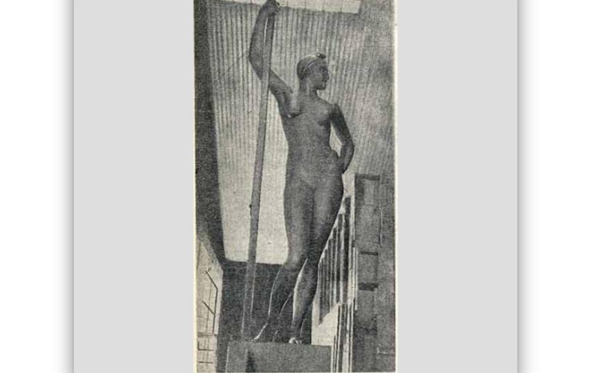 """Фото почти готовой «Девушки» из мастерской Шатра. Фото газета """"Советское искусство"""", 17 июля 1935 г."""