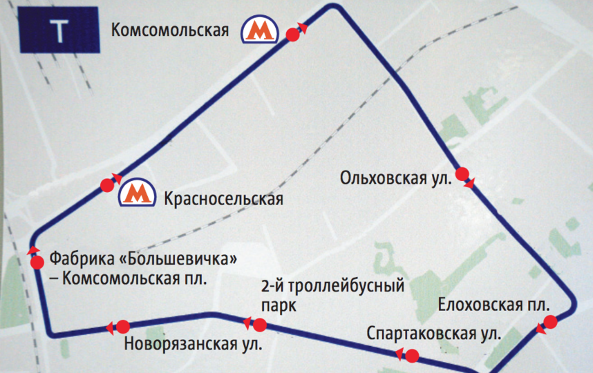 """Схема кольцевого троллейбусного маршрута «Т». Фото """"Metro"""""""
