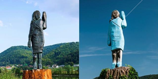Новая (слева) и старая статуи Мелании.