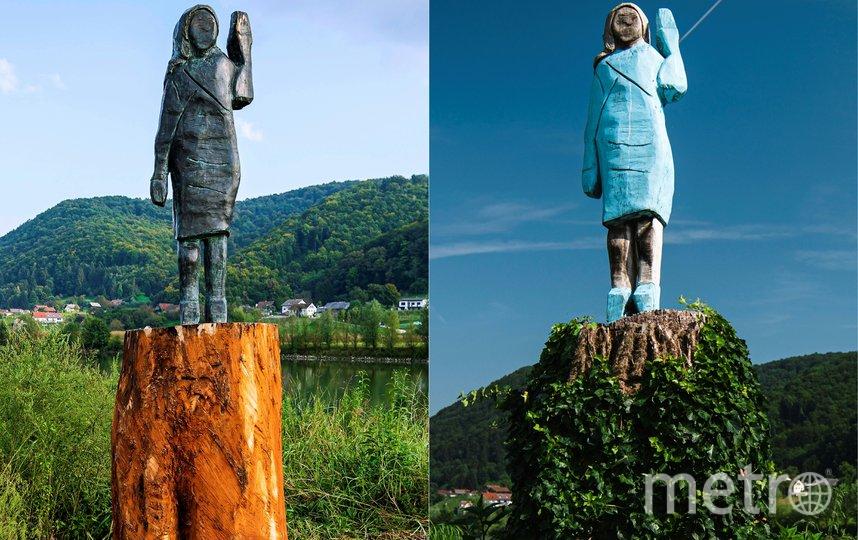 Новая (слева) и старая статуи Мелании. Фото AFP