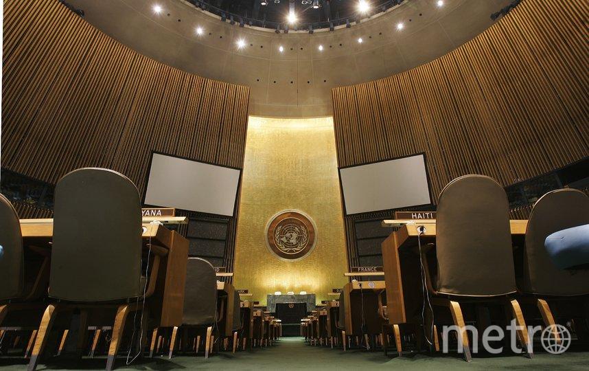 Знаменитая трибуна ООН в Нью-Йорке выполнена из камня, напоминающего мрамор, – серпентинита. Фото Getty