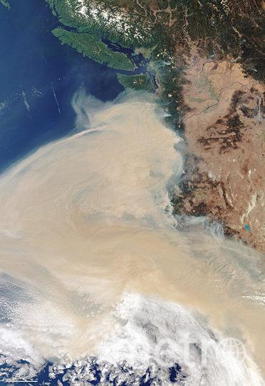 Дымовой шлейф над штатами Калифорния, Орегон и Вашингтон. Фото AFP
