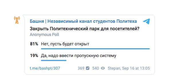 Результаты опроса студентов университета.