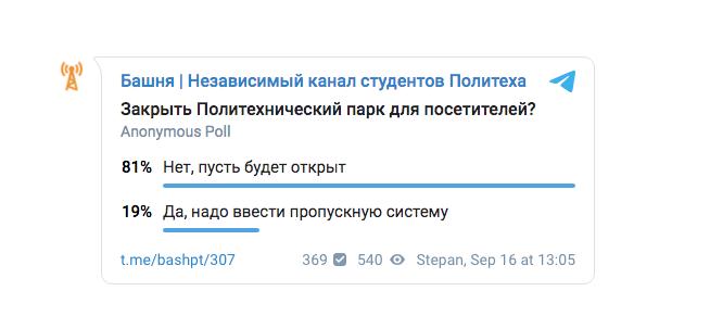 """Результаты опроса студентов университета. Фото Скриншот: https://t.me/bashpt/307, """"Metro"""""""
