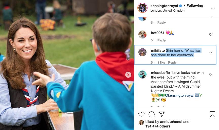Вопросы о бровях задают герцогине в соцсетях.