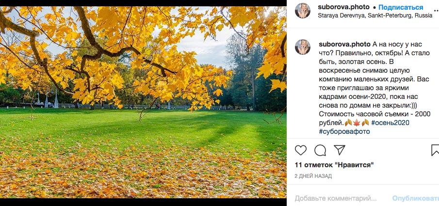 Осень - самое лушее время для фотосессии. Фото instagram.com/suborova.photo/.