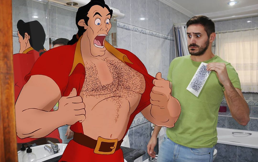 Самюэль помогает Гастону из «Красавицы и Чудовища» готовиться к выходу в свет. Фото instagram.com/samuelmb1991