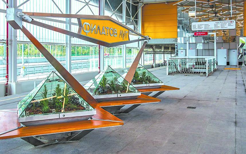 Отличительная черта станции «Филатов Луг» на Сокольнической линии метро – скамейки с «аквариумами», в которых высажены живые растения. Фото mos.ru