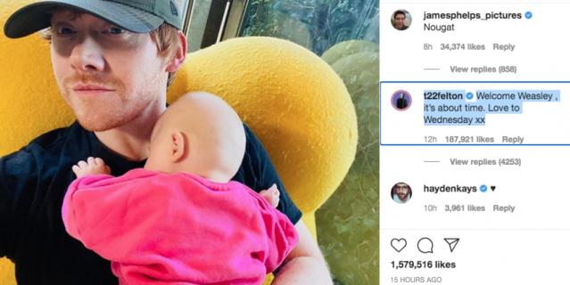 Первое фото в Instagram прокомментировал актер, сыгравший врага Рона - Драко Малфоя.