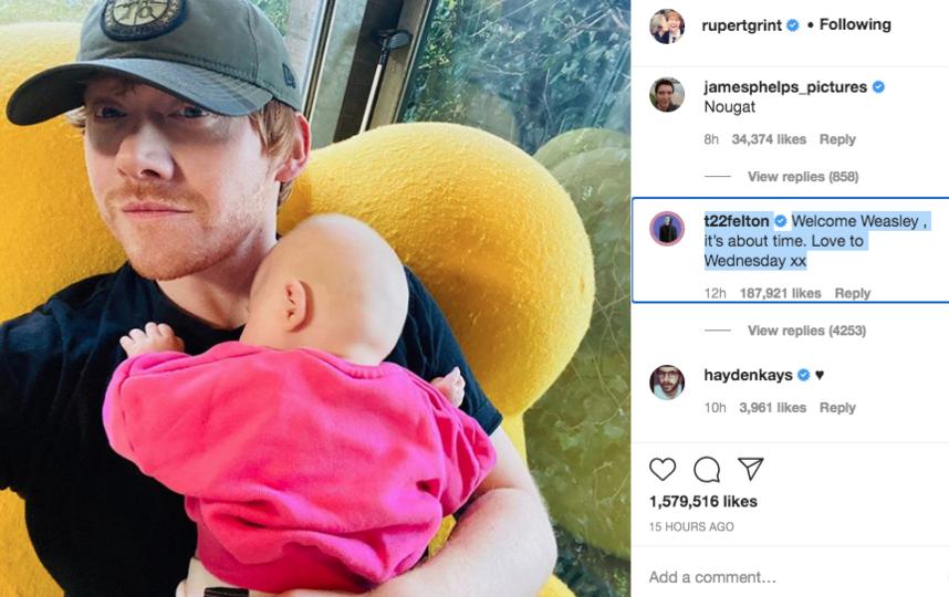 Первое фото в Instagram прокомментировал актер, сыгравший врага Рона - Драко Малфоя. Фото https://www.instagram.com/rupertgrint/