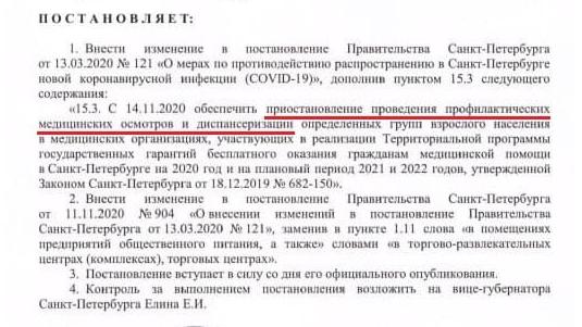 Постановление подписал Беглов.